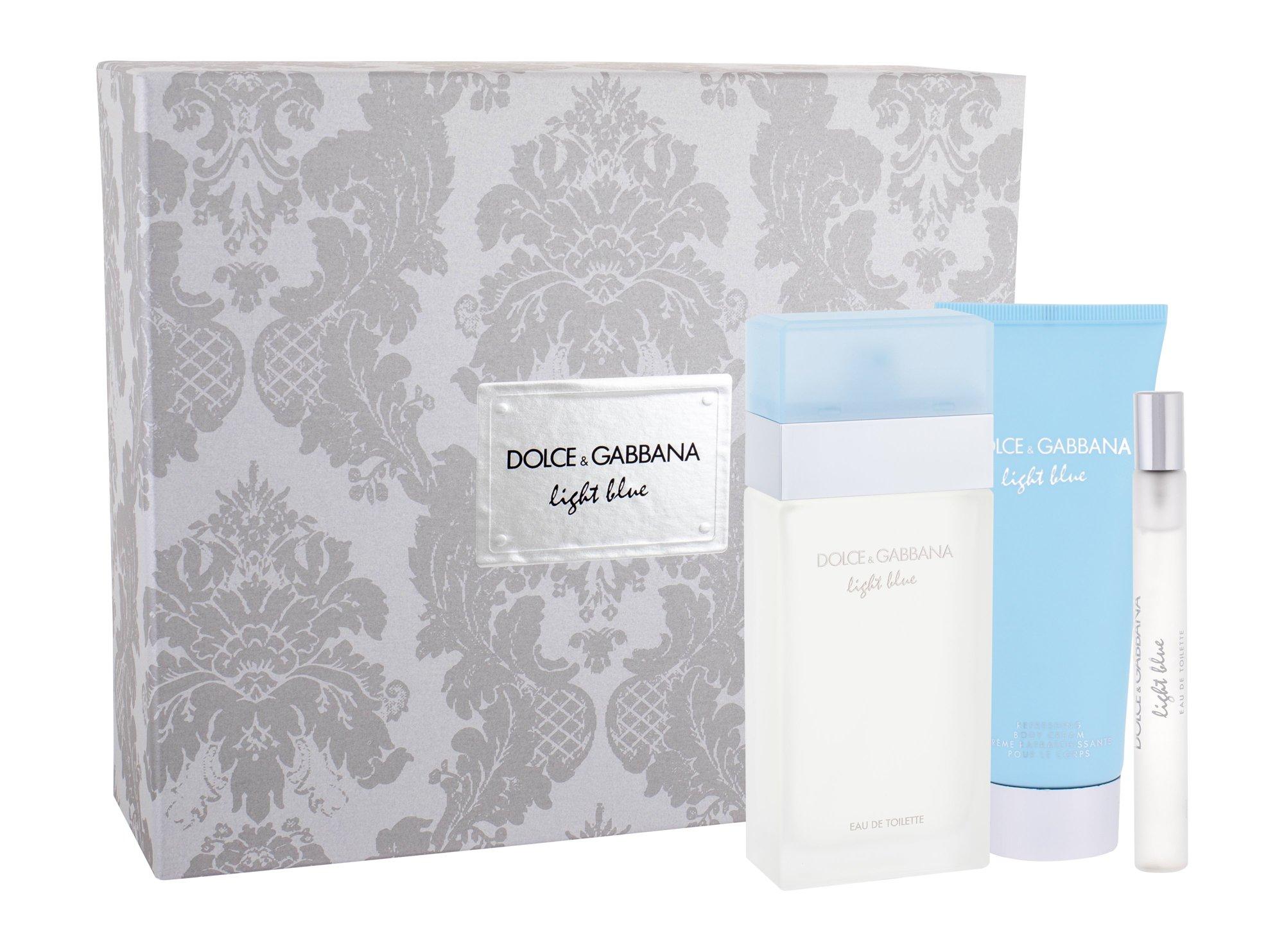 Dolce&Gabbana Light Blue W EDT 100 toaletní voda 100 ml + tělový krém 100 ml + toaletní voda 10 ml