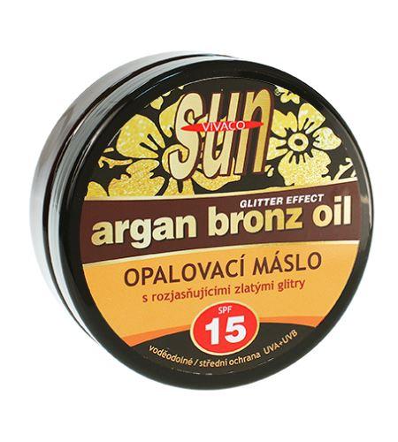 Vivaco SUN opalovací máslo s rozjasňujícími zlatými glitry SPF 15 200 ml