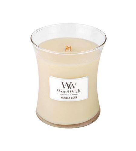 WoodWick Vanilla Bean vonná svíčka s dřevěným knotem 275 g